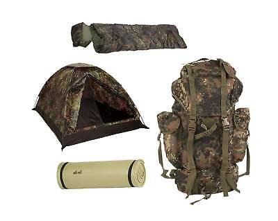 Biwak BW Army Komplettset Zelt + Schlafsack + Isomatte + 65L Rucksack flecktarn ()
