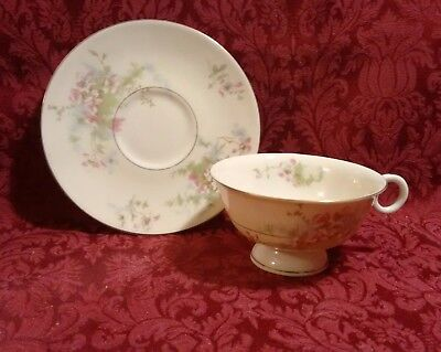 THEODORE HAVILAND NY APPLE BLOSSOM GOLD TRIM COFFEE TEA CUP & SAUCER(S) ()