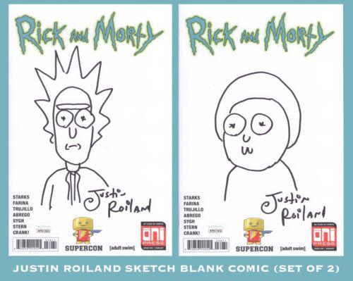 JUSTIN ROILAND Hand Sketch Signed RICK & MORTY Comic ART Set JSA COA WITNESSED