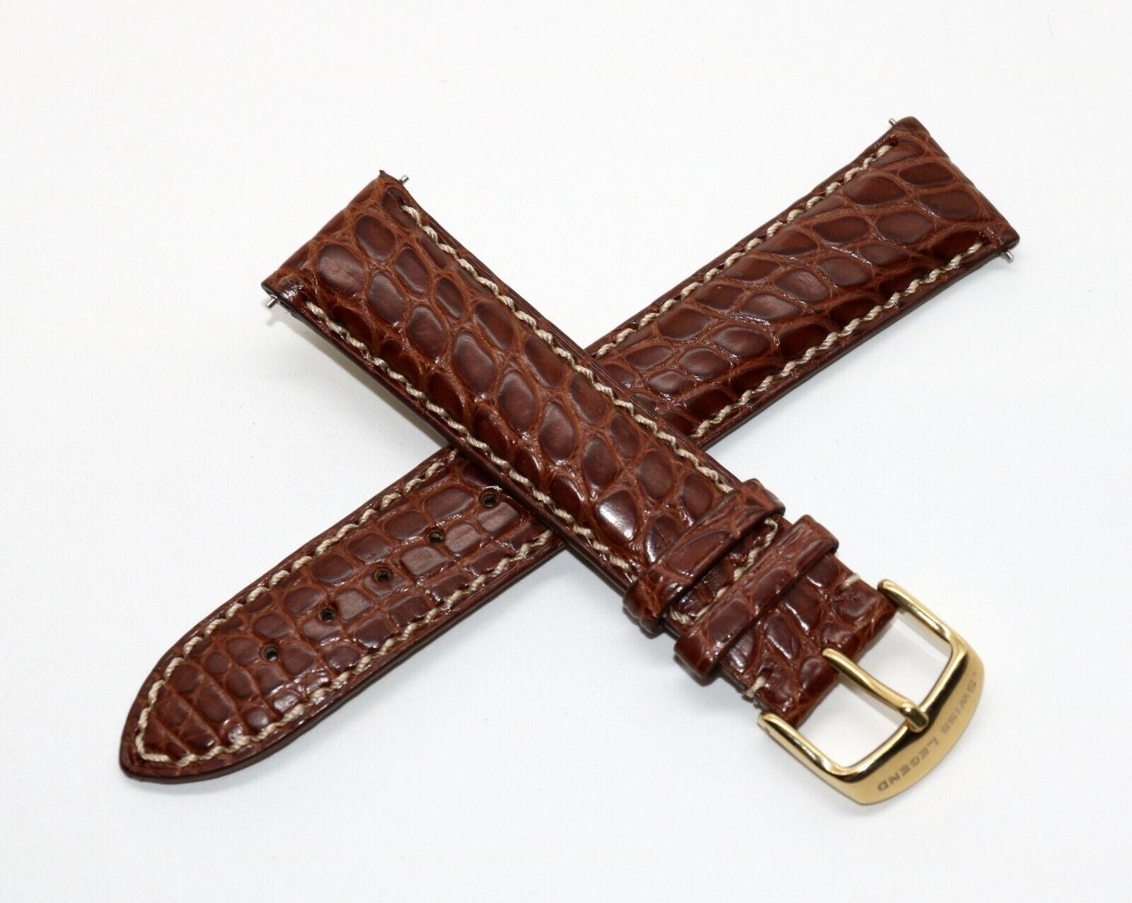 Swiss Legend 20MM Echt Alligatorenleder Uhrenarmband Braun