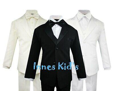 Toddler Boys' 5 Piece Classic Fit Formal Tuxedo Bow Tie Set Choice of Colors - Boys Classic Tuxedo Suit
