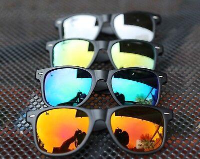 Retro Sonnenbrille Nerd Schwarz Matt Blau Grün Orange Verspiegelt Wayfarer Stil