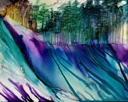 "Original Painting 11x14"" Forest long shadows teal purple by Lynne Kohler"