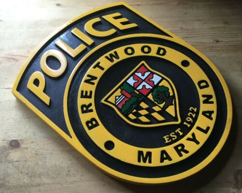 Police Brentwood Maryland 3D routed plaque wood  patch Sign Custom Carved