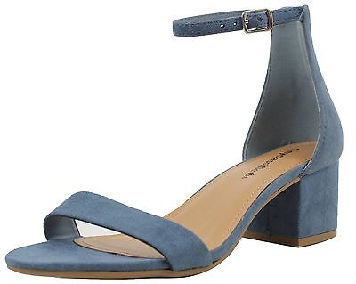 City Classified Womens Open Toe Ankle Strap Chunky Block Heel