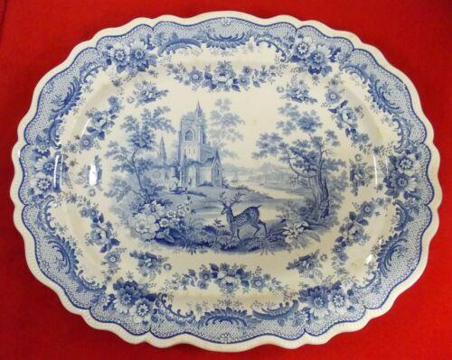 "Monumental Antque English Game Platter ""Antiquarian"" Thomas Fell C.1825 Transfer"