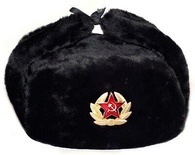 USHANKA RUSSIAN MILITARY USSR ARMY FUR WINTER HAT SOVIET SOLDIER RED STAR BADGE