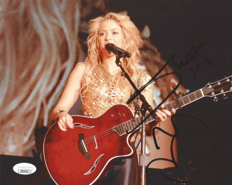 RARE SHAKIRA SIGNED AUTOGRAPHED 8x10 PHOTO SEXY WITH GUITAR JSA COA