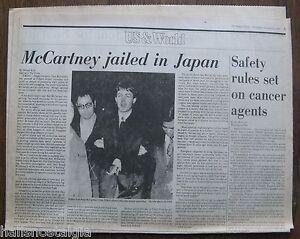 PAUL McCARTNEY JAILED IN JAPAN - January 17, 1980 Boston Globe Newspaper page
