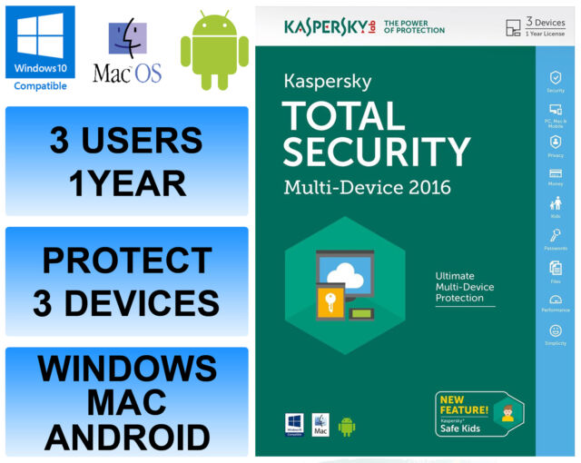 Kaspersky Total Internet Security 2016 Multi Device 3 User 1 Year FFP Retail DVD