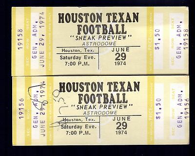 2 June 29, 1974 Houston Texans Full Tickets Sneak Preview Astrodome WFL