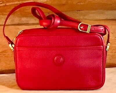 """New Mark Cross 9"""" x 6"""" Red Pebbled Leather Shoulder or Crossbody Brass Hardware"""