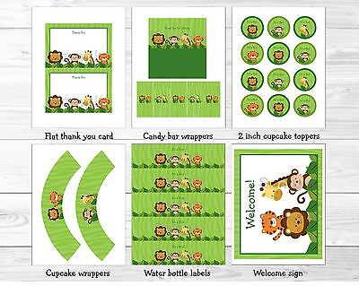 Jungle Animals Safari Friends Printable Baby Shower Party Package](Baby Shower Decoration Packages)