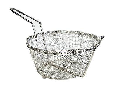 Fry Basket Round Nickel Plated Kitchen Deep Fryer Dishwasher Safe Silver TH ()