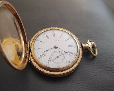 BEAUTIFUL WALTHAM GOLD FILLED 6 SIZE HUNTING POCKET WATCH MINT DIAL RUNNING