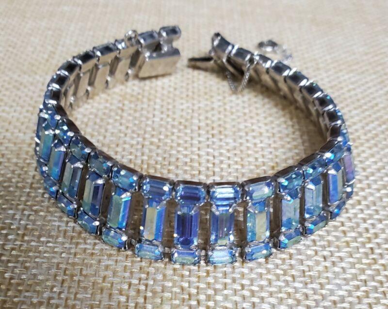 Vintage B David Rhinestone Blue AB Appearance Bracelet PI-