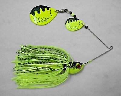 3 SPINNERBAIT HEADS 3//4oz LIME GREEN with GREEN GLITTER