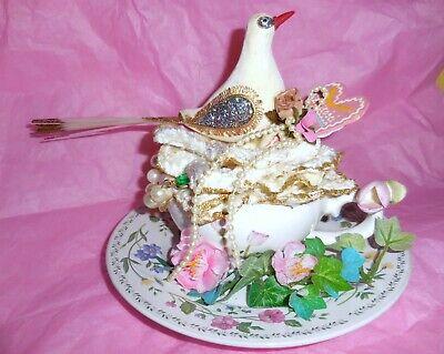 White Glitter Love Bird Mixed Media Cup Assemblage Velvet Rose Original Art