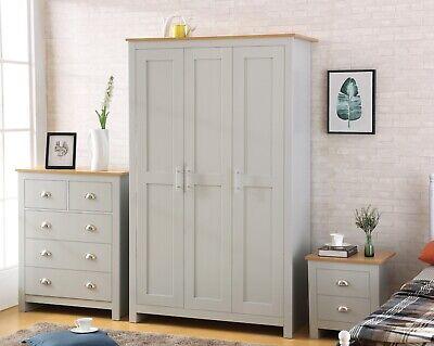 Grey with Oak Bedroom Furniture Range - Soft Close Wardrobes Chests Bedside