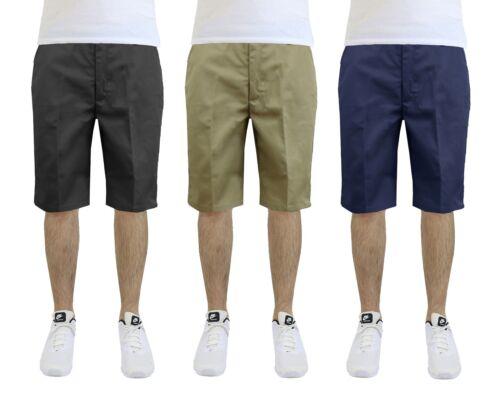 """Mens Uniform Shorts Cotton Blend Lounge Work School Pockets 12-14"""" Inseam Colors"""