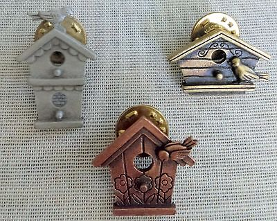 Birdhouses With Birds Set Of 3 Tack Pins Signed Jj Jonette Jewelry  1980S