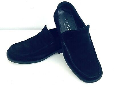 Vintage GUCCI Black Suede Leather Loafers Italy 110 0245 41 E Size 9 E Mint