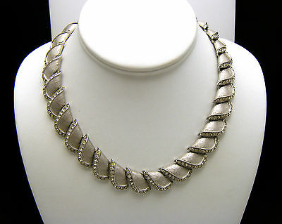 Crown Trifari Vintage Necklace 1960s Rhinestone Silver Tone Choker  on Lookza