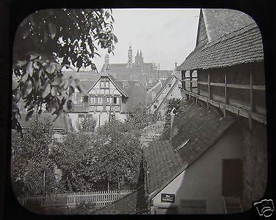 Glass Magic Lantern Slide ROTHENBURG WEHRGANG C1910 GERMANY GERMAN CASTLE