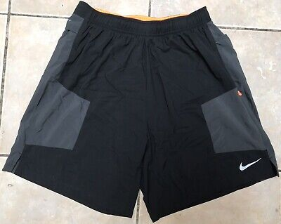 NIKE KIGER DRI-FIT TRAIL RUNNING SHORTS MEDIUM BLACK AND GREY
