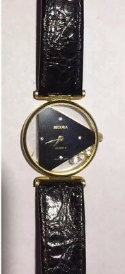 (Vintage Womens Becora Watch Gold Case Black Leather Band Floating Rhinestones)