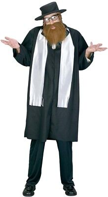 Mens Jewish Rabbi Fancy Dress Costume Orthodox Jew Novelty Outfit (One Size)](Jewish Costume)