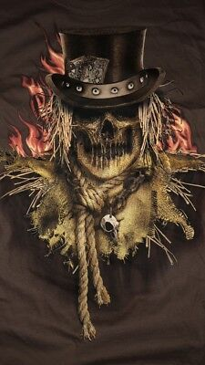 NWT Men's T Shirt Sz M Scarecrow Skull Head Western Scary Short Sleeves Brown - Halloween Scarecrow Tattoo
