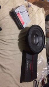 Pioneer deck, 12 inch sub and amp with kit to attach everything