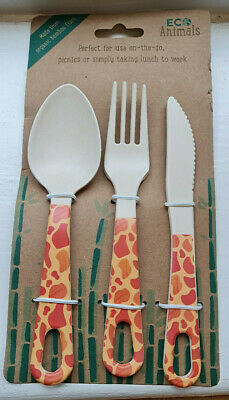 Gordon Giraffe Bamboo Cutlery Set Bamboo Eco Friendly knife/fork/spoon picnic