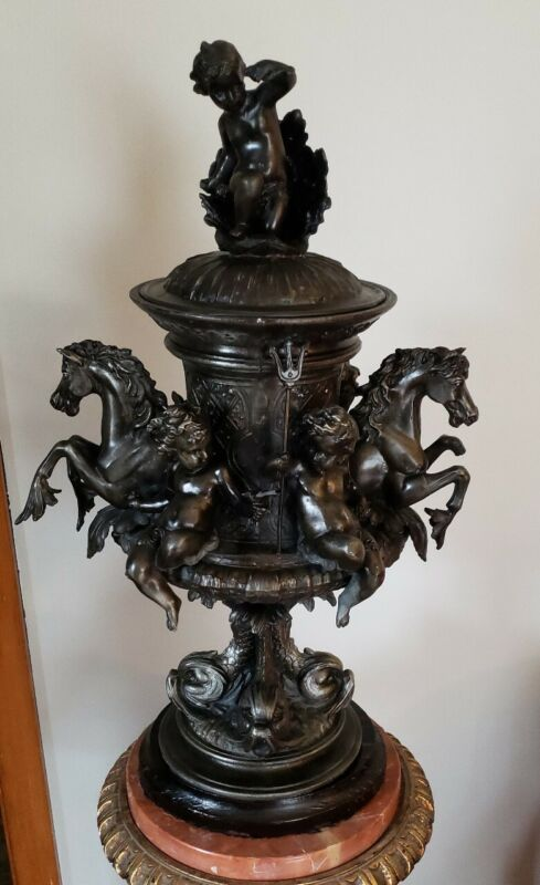 EXQUISITE ANTIQUE PAIR OF  FRENCH SPELTER COVERED URNS