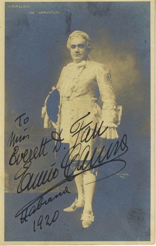 """Enrico CARUSO (Tenor): Signed Photograph in """"Manon."""""""