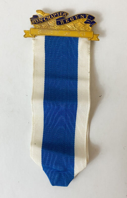 Vintage DAR Honorary Chapter Regent Pin with Ribbon 1976 Gold Filled JE Caldwell
