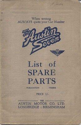 Austin Seven 7 original illustrated Parts List 1933 Box Saloon Pub. No 1029A