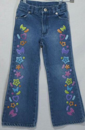 Kids Vintage Jeans Lisa Frank Denim 90s Glitter Paint Flower Butterfly Transfers
