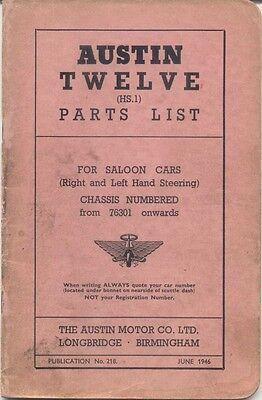 Austin Twelve 12 HS.1 original Parts List June 1946 No. 218 UNILLUSTRATED