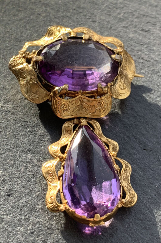 Antique Yellow Gold Amethyst Large Ornate Drop Brooch.