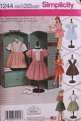 "18"" GIRL DOLL CLOTHES Simplicity Sewing Pattern 1244/439 American Made NEW Uncut"