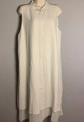 Eileen Fisher Sz L 100% Silk Georgette Crepe Mandarin Collar A-Line Dress NWT