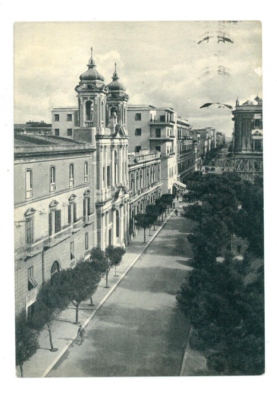 TARANTO CORSO UMBERTO E CHIESA DI S. PASQUALE VIAGGIATA 1956 PUGLIA