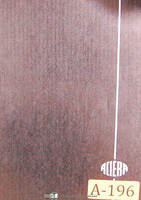Aciera Type F2 Universal Milling Machine Parts Drawings Manual
