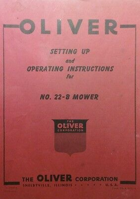 Oliver 22-b 3-point Sickle Mower Operators Set Up Service Minor Parts Manual