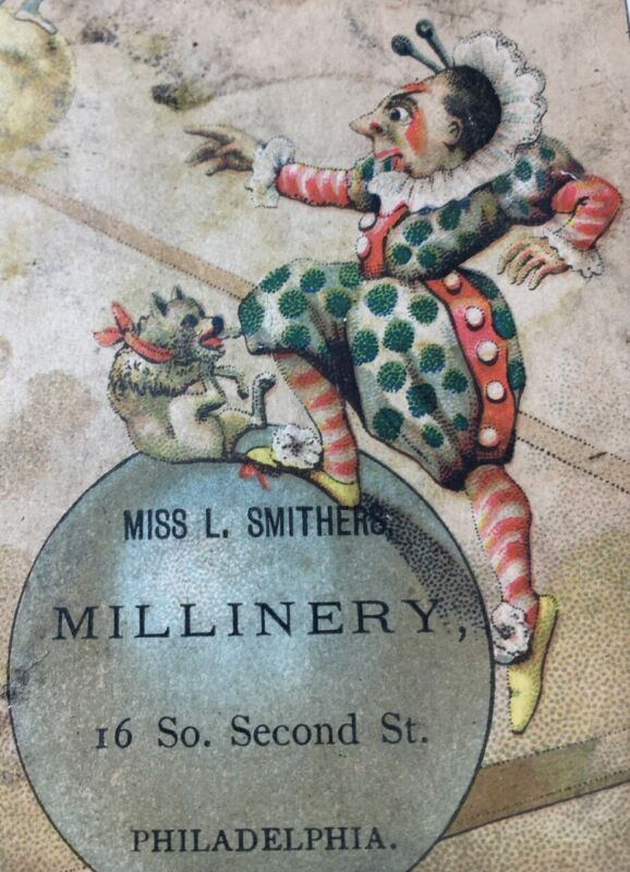 Antique Victorian Trade Card Miss L Smithers Millinery Philadelphia Jesters Rare