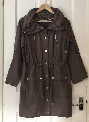 Mint Velvet Coat Parka UK Size 10 Oversized Collar Drawstring Waist Pockets