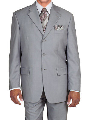Wool Single Breasted 3 Button - Men's Classic Single Breasted 3 Button Wool Feel Suit #5802 L.Gray, Olive