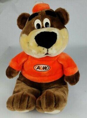 "VTG A&W ROOTY The Root Beer Bear Soda Mascot Plush Stuffed Animal Orange 17"""